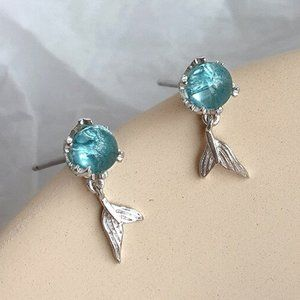 *NEW 925 Sterling Silver Crystal Mermaid Earrings
